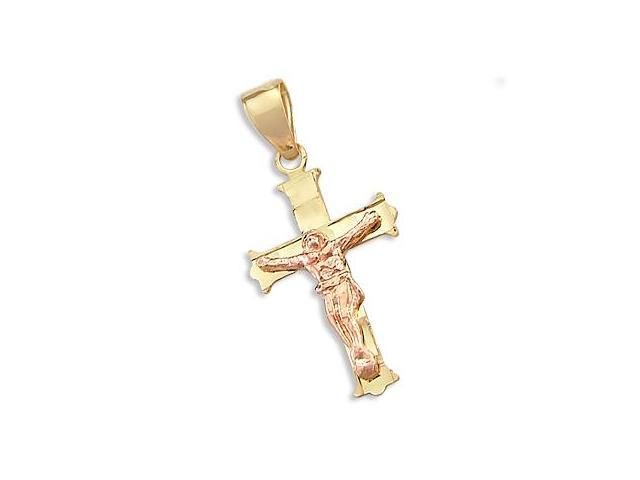 14k Yellow and Rose Gold Cross Crucifix Charm Pendant j (Height = 1
