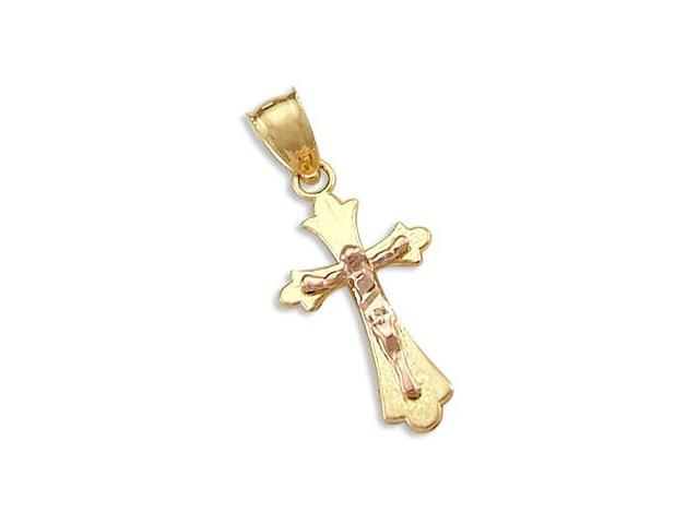 14k Yellow and Rose Gold Cross Crucifix Charm Pendant (Height = 1
