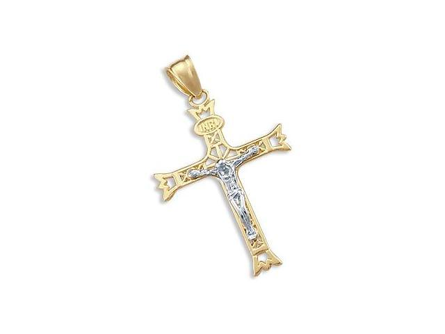 14k Yellow and White Gold Cross Crucifix Charm Pendant (Height = 1.5