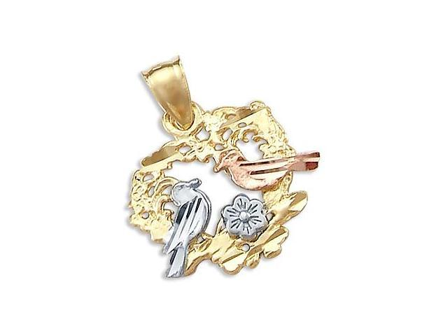 14k Tri 3 Color Gold Heart Love Birds Charm Pendant New (Height = 3/4