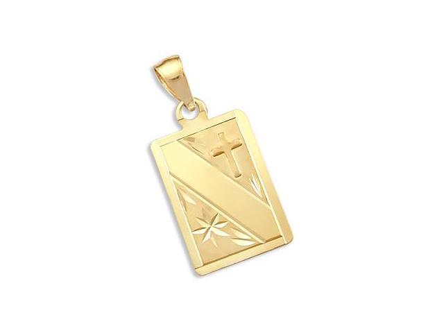 14k Yellow Gold Cross Dog Tag Plate Charm Pendant New (Height = 1