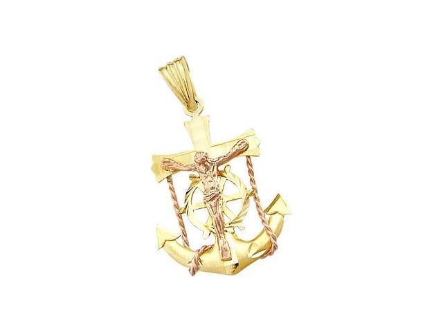 14k Yellow and Rose Gold Anchor Crucifix Charm Pendant (Height = 1.25