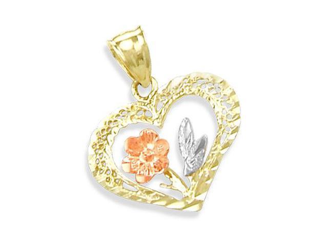14K YELLOW WHITE n ROSE GOLD FLOWER HEART CHARM PENDANT (Height = 1