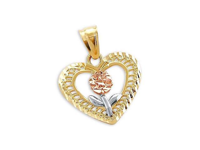 14k Yellow White n Rose Gold Heart Flower Charm Pendant (Height = 3/4