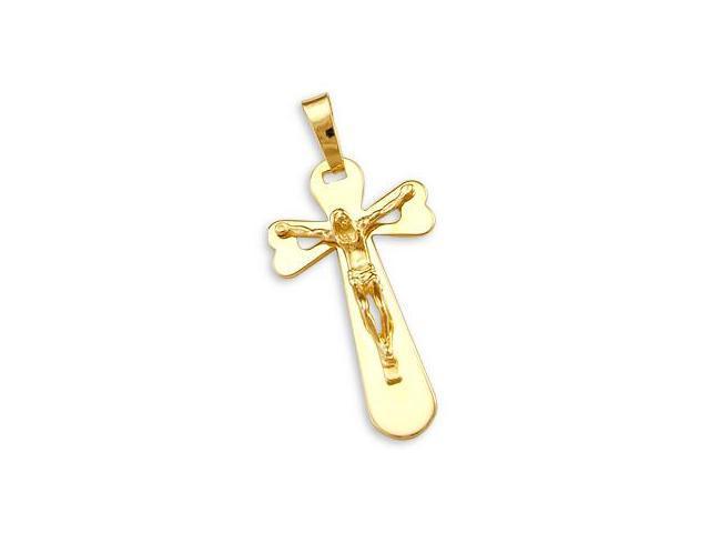 14k Yellow Gold Cross Crucifix Pendant Charm Big NEW (Height = 1.75