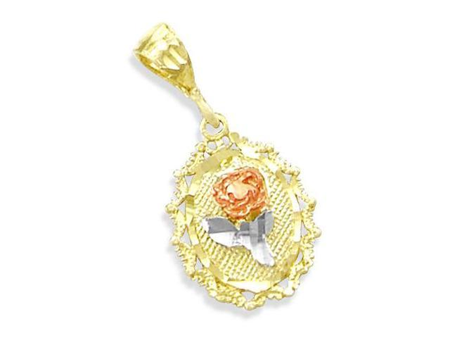 14K TRI-COLOR YELLOW GOLD FLOWER ROSE CHARM PENDANT NEW (Height = 1