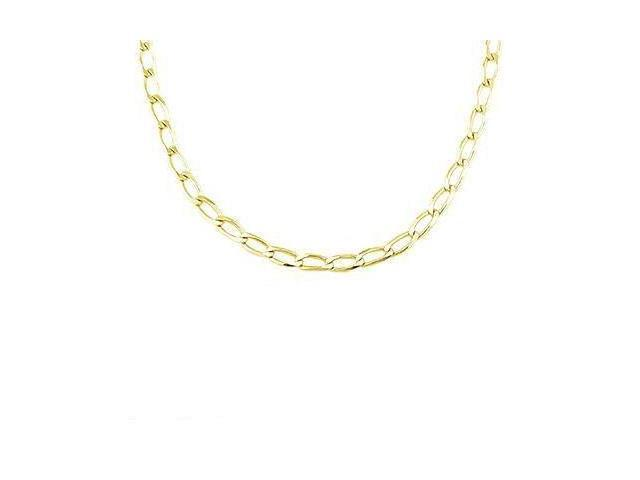 Solid 14k Yellow Gold Open Cuban Link Chain Necklace 3.2mm 18