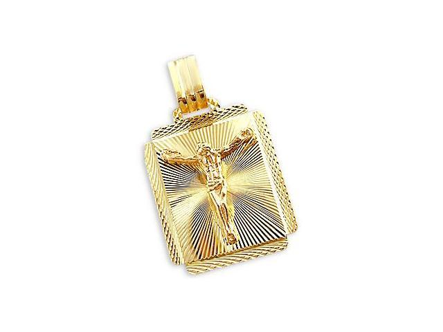 14k Yellow and Rose Gold Jesus Crucifix Pendant Charm (Height = 1.25