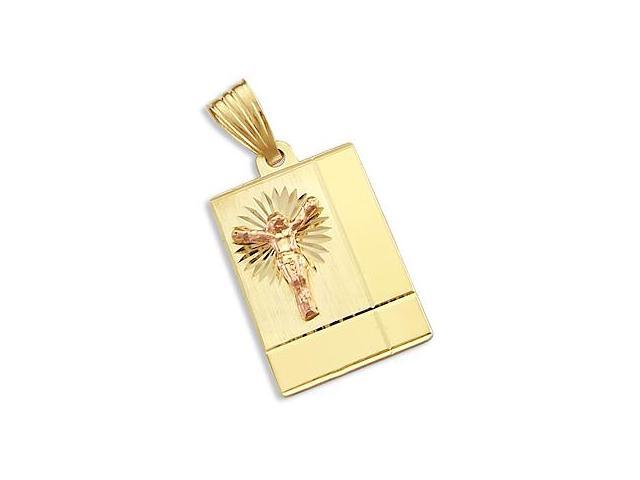 14k Yellow Rose Gold Jesus Cross Crucifix Plate Pendant (Height = 1.25