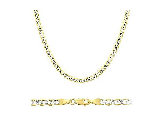 Solid 14k Two Tone Gold Gucci Mariner Chain Necklace 2.1mm 18 - 3.8 grams - with Lobster Lock Clasp
