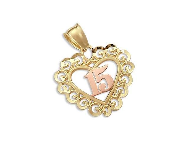 14k Yellow n Rose Gold 15 Birthday Heart Charm Pendant (Height = 1