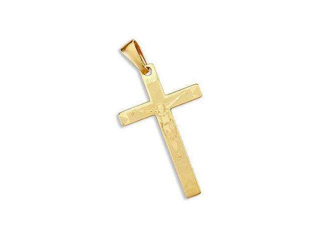 14k New Yellow Gold Cross Crucifix Light Pendant Charm (Height = 1.5