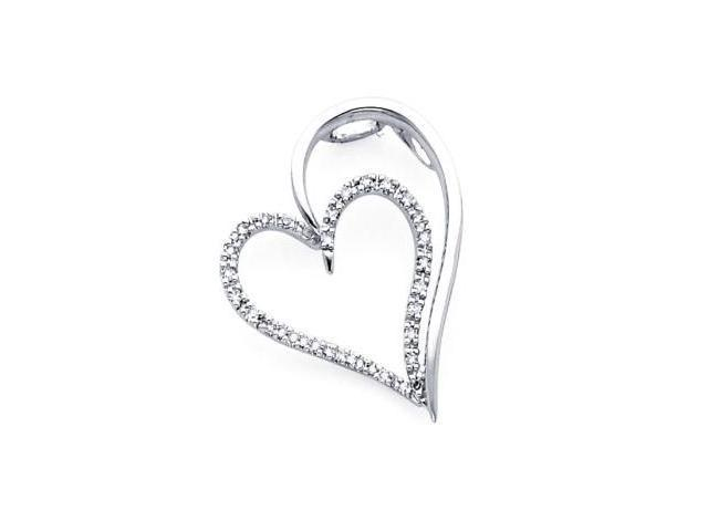 14k White Gold Round Diamond Large Heart Love Pendant .15 ct (H-I Color, I Clarity)