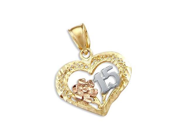 14k Tri 3 Color Gold 15 Birthday Quinceanera Pendant (Height = 1