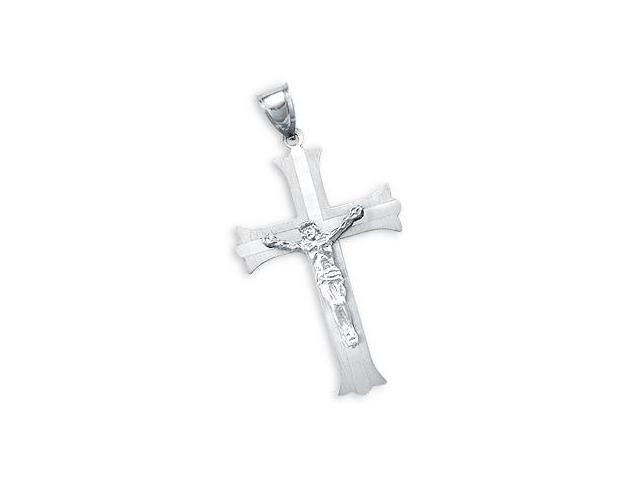 14k Solid White Gold Jesus Cross Crucifix Charm Pendant (Height = 1.5