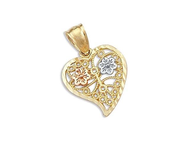 14k Yellow White and Rose Gold Heart Love Pendant Charm (Height = 3/4