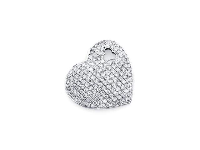 14k White Gold Pave Round Diamond Heart Pendant .80 ct (G-H Color, SI2 Clarity)