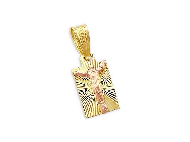 14k Yellow Rose Gold Small Jesus Crucifix Pendant Charm (Height = 3/4