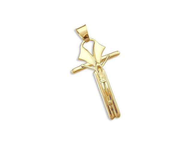 14k Yellow Gold Cross Crucifix Charm Pendant LARGE New (Height = 2.25