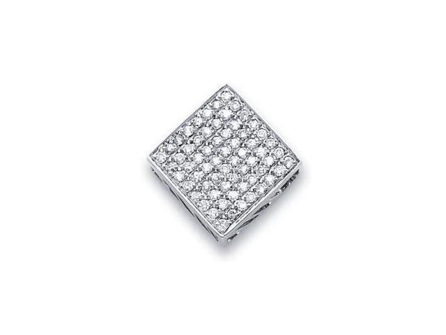 14k White Gold Square Pave Diamond Slide Pendant 1/2 ct (G-H Color, SI2 Clarity)