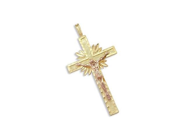 14k Yellow and Rose Gold Cross Crucifix Pendant Charm (Height = 1.5