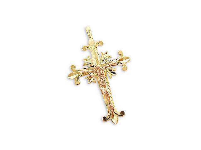 14k Yellow n Rose Gold Cross Crucifix Charm Pendant New (Height = 1.5