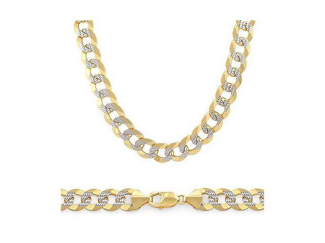 Two Tone Solid 14k Gold Pave Cuban Chain Necklace 7.1mm 24