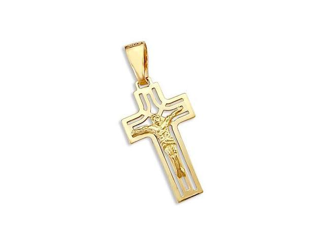 New 14k Solid Yellow Gold Cross Crucifix Charm Pendant (Height = 1.25