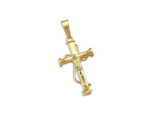 New 14k Yellow Gold Unique Cross Crucifix Pendant Charm (Height = 1.5