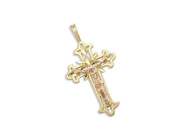 14k Yellow and Rose Gold Cross Crucifix Charm Pendant (Height = 1.25