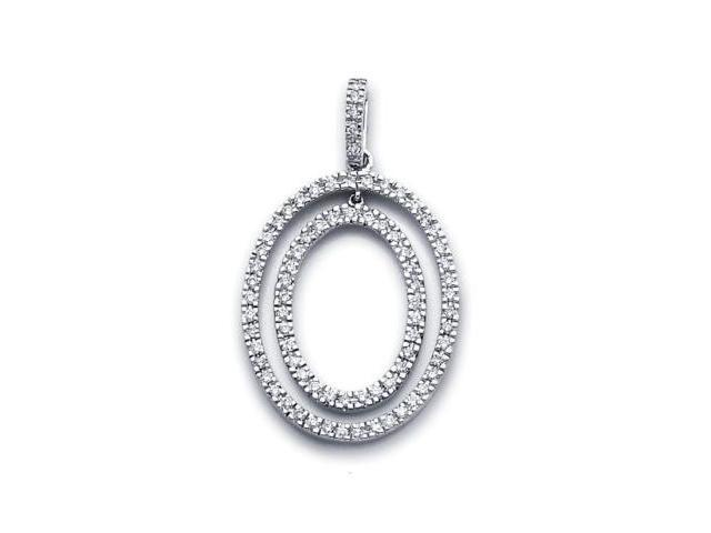 14k White Gold Big Round Diamond Oval Eternity Pendant (G-H Color, SI2 Clarity)
