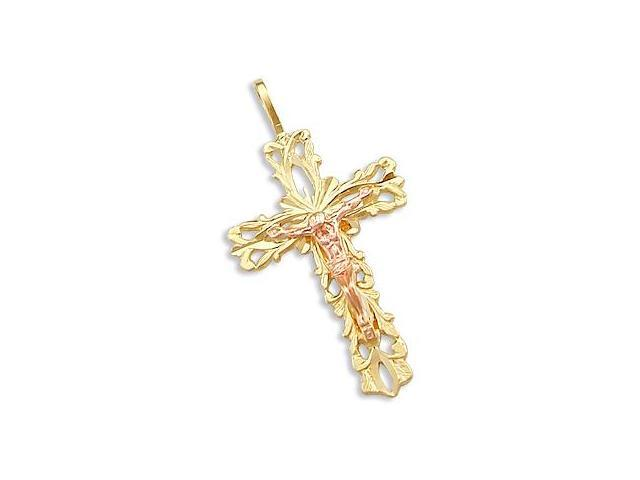 14k Yellow and Rose Gold Cross Crucifix Charm Pendant . (Height = 1.25