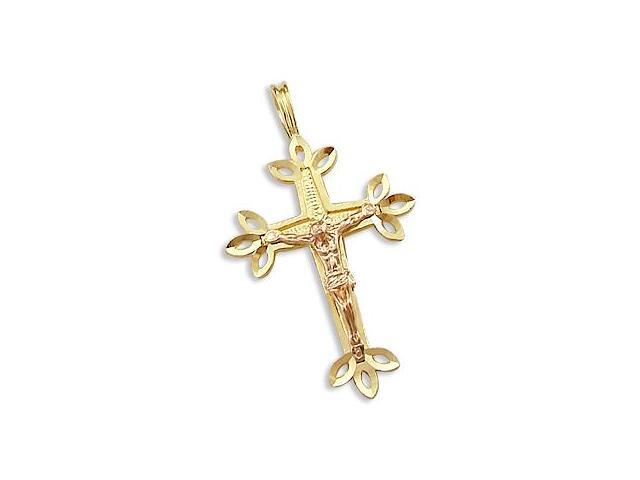 14k Yellow and Rose Gold Cross Crucifix Charm Pendant a (Height = 1.25