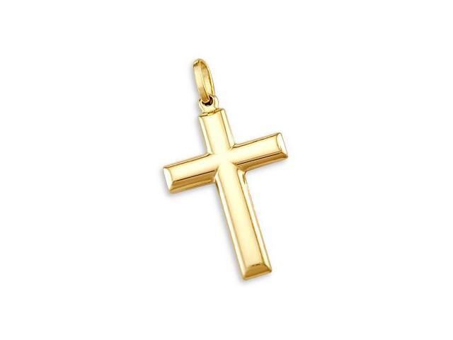 14k Yellow Gold Cross Crucifix Pendant Charm Plain (Height = 1.25
