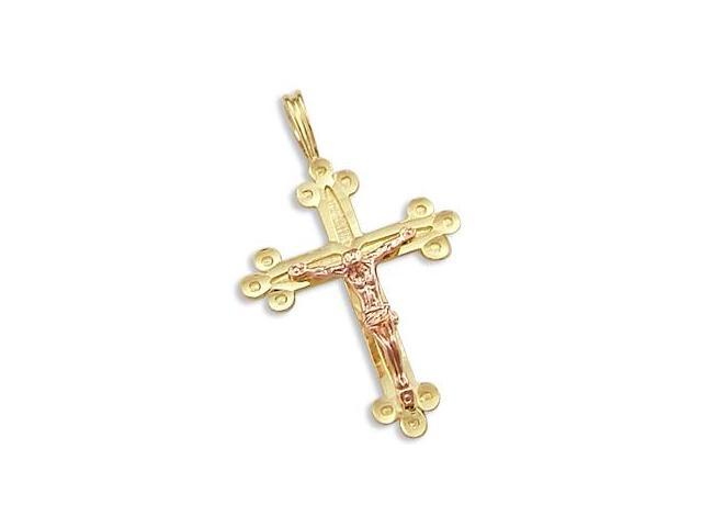 14k Yellow and Rose Gold Cross Crucifix Charm Pendant b (Height = 1.25