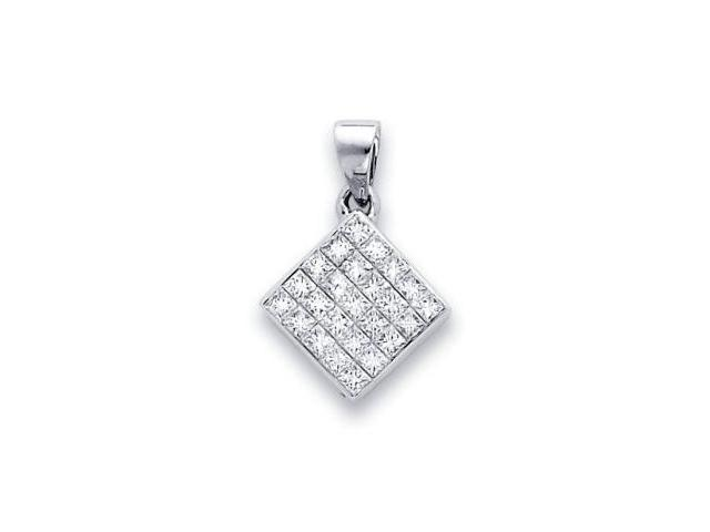 14k White Gold Channel Set Princess Cut Diamond Pendant (G-H Color, SI2 Clarity)