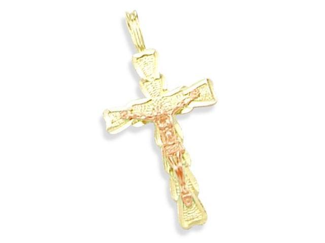 14K YELLOW 2 TWO TONE GOLD CROSS CRUCIFIX CHARM PENDANT (Height = 1