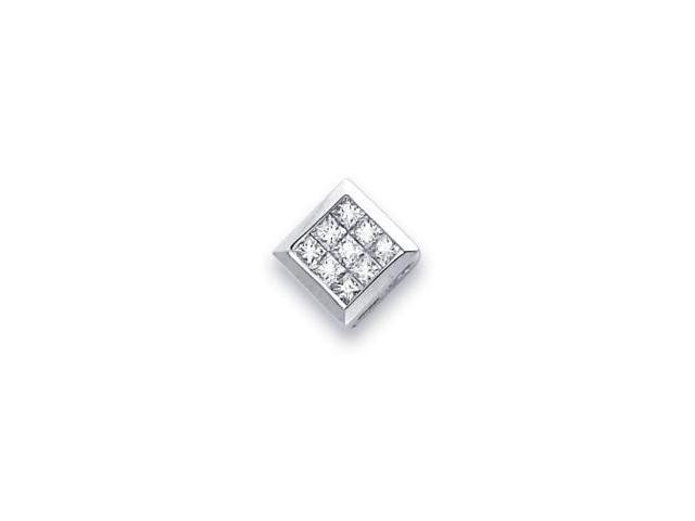 14k White Gold Channel Set Princess Cut Diamond Pendant (G-H Color, SI1 Clarity)
