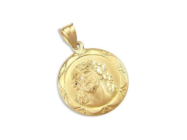 14k Yellow Gold Jesus Face Medallion Charm Pendant New (Height = 1.25