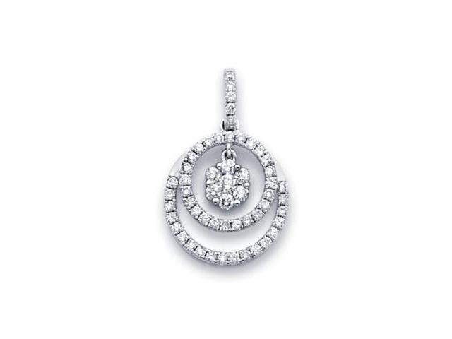 18k White Gold Flower Eternity Together Diamond Pendant (G Color, SI1 Clarity)