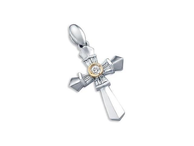 14k White Gold Ladies CZ Cross Crucifix Charm Pendant (Height = 1.25