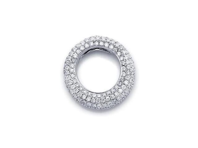 14k White Gold Eternity Round Diamond Puff Pave Pendant (G-H Color, SI2 Clarity)