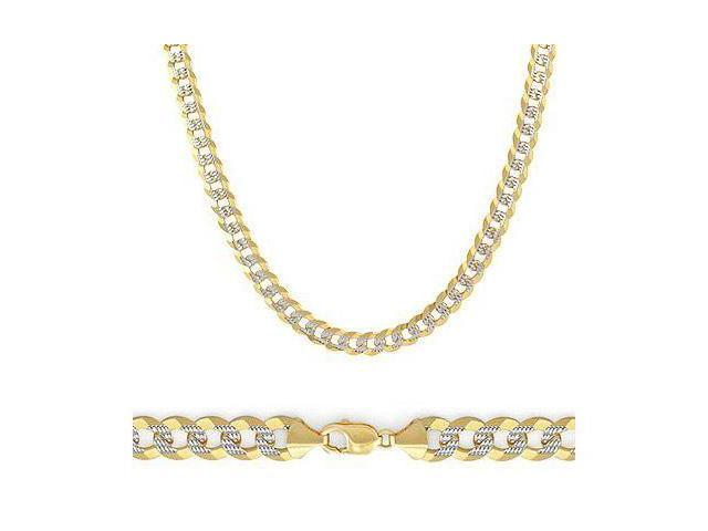 Solid 14k 2 Tone Gold Pave Cuban Curb Chain Necklace 3.8mm 22