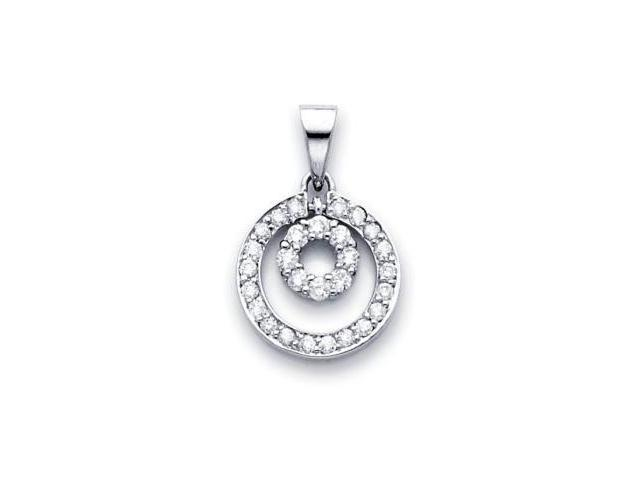 14k White Gold Round Diamond Eternity Together Pendant (G-H Color, SI2 Clarity)