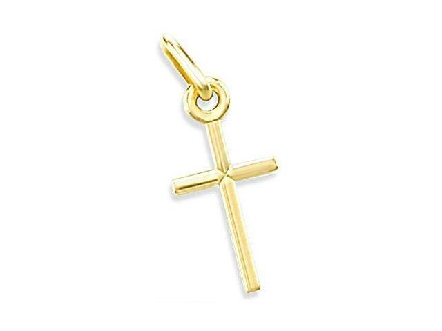 14K YELLOW GOLD SMALL CRUCIFIX CROSS CHARM PENDANT NR (Height = 3/4