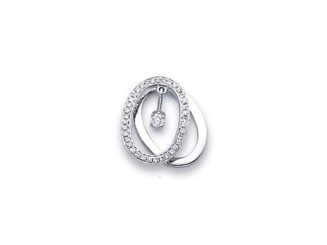14k White Gold Round Diamond Eternity Together Pendant (G Color, SI1 Clarity)