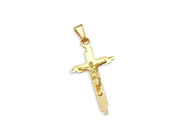 14k Yellow Gold Cross Crucifix Pendant Charm ELEGANT (Height = 1.5