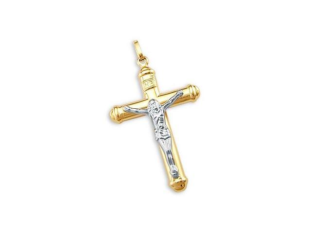 14k Yellow and White Gold Cross Crucifix Charm Pendant (Height = 1.25