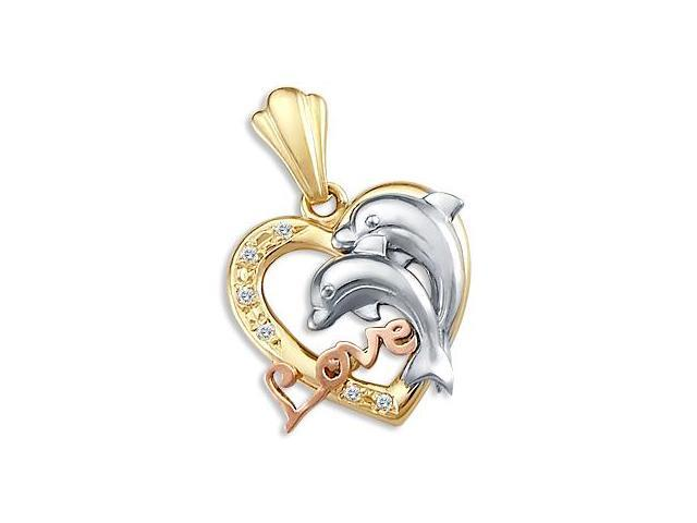 14k Tri-Color Gold Heart Love Dolphins Charm Pendant (Height = 1