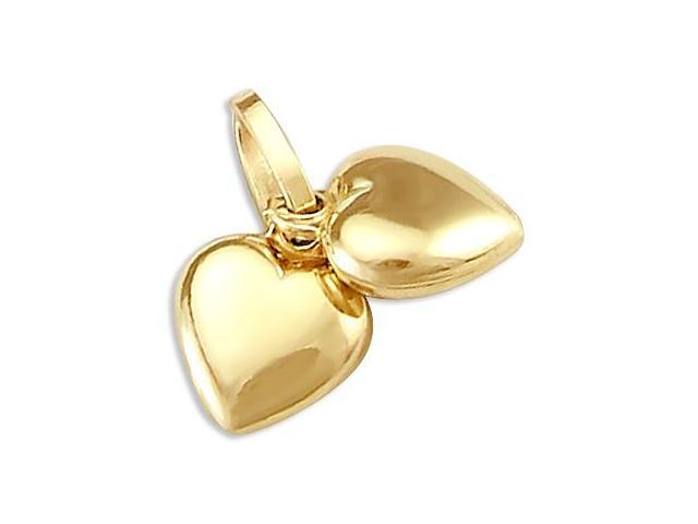 14k Yellow Gold Two Hearts Together Love Charm Pendant (Height = 1/2